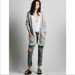 Free people slouchy boyfriend chunky cardigan grey